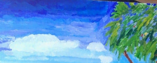 painting of seluded beach, sky, sea and a treee
