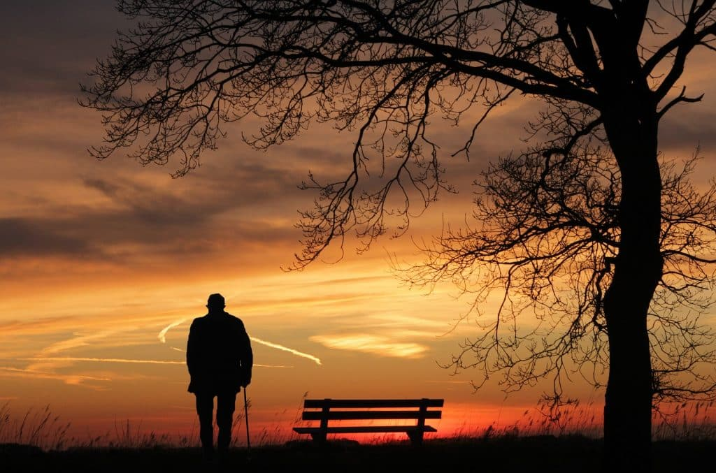 Silhouette of a tree and man against the sunset