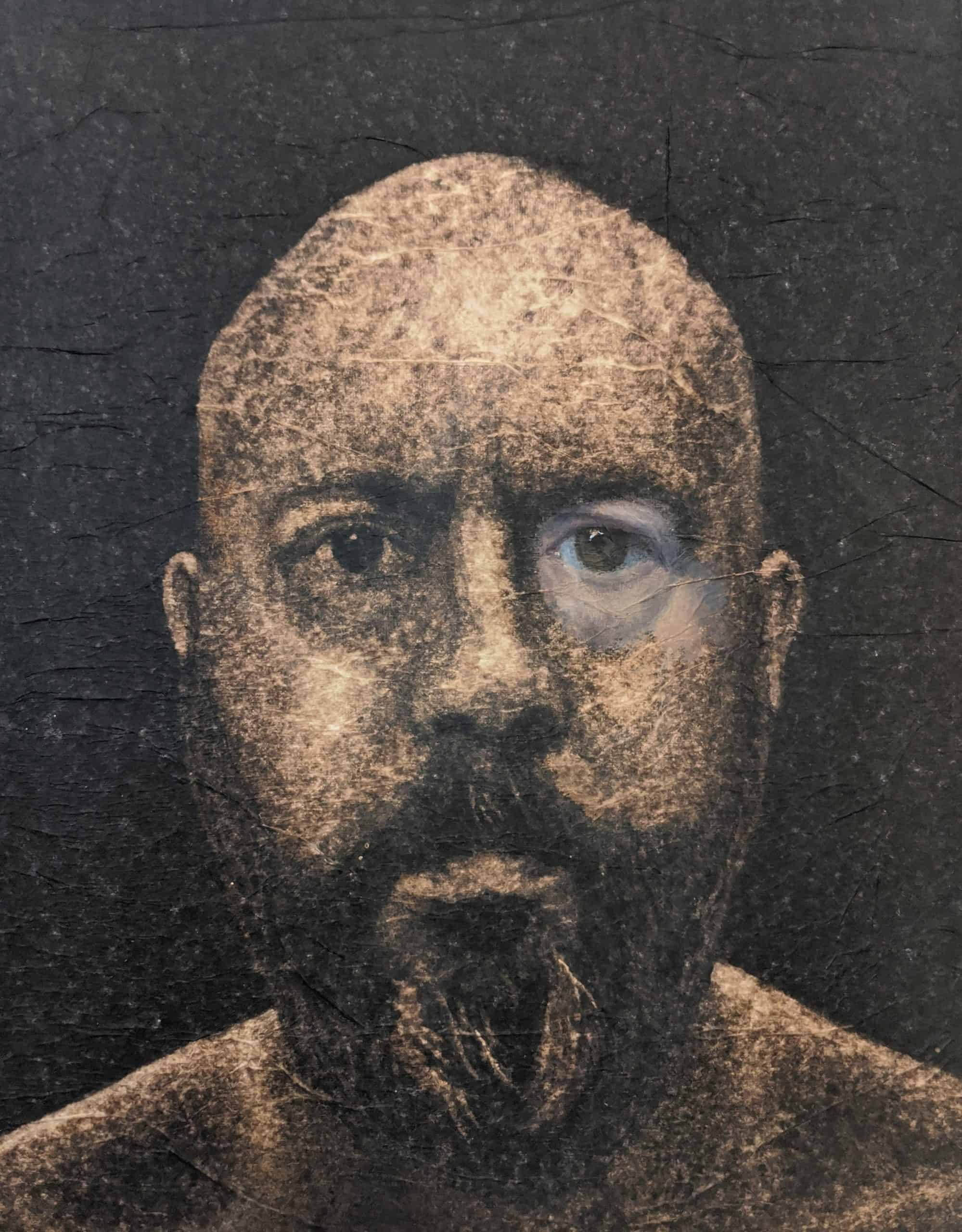 Self portrait from life, rendered in bleached black tissue paper and oil paint. I intended to depict the flesh as a form of make-up or concealment.