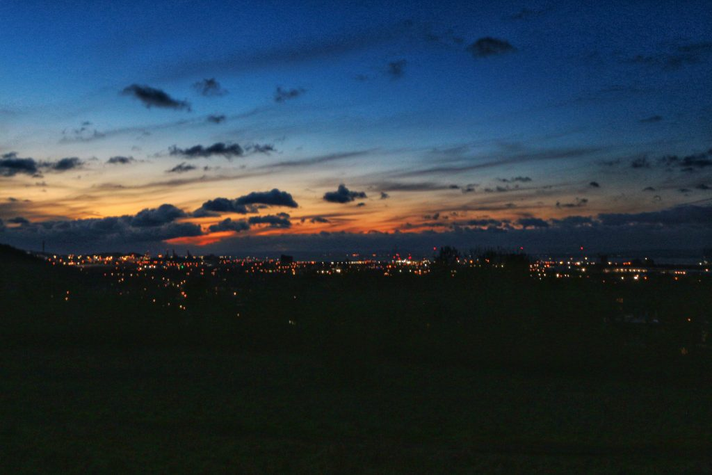 View of Portbury skyline from Kingsweston at sunset